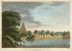 'North View of the Great Pagoda and Tank at Tanjore'.  Coloured aquatint by J. Wells after a drawing by Capt. Trapaud, 1788.